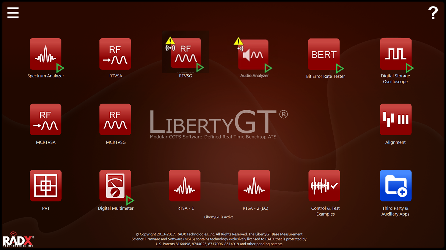 RADX LibertyGT MSFS Homescreen Showing Multiple Apps