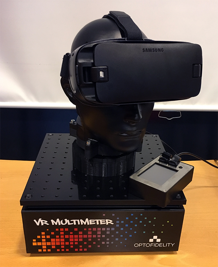 VR performance meter with head set on measurement head - Buddy