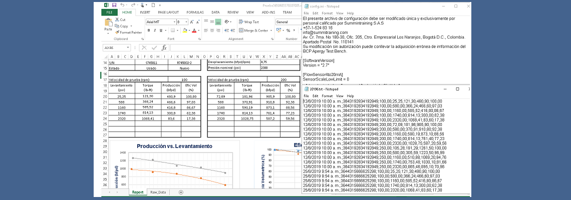 MS Excel report (left), configuration file (up-right), reports history backup (down-right)