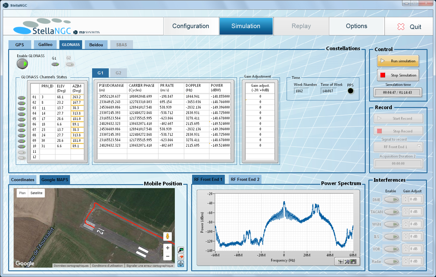 Simulation screen (google map view)