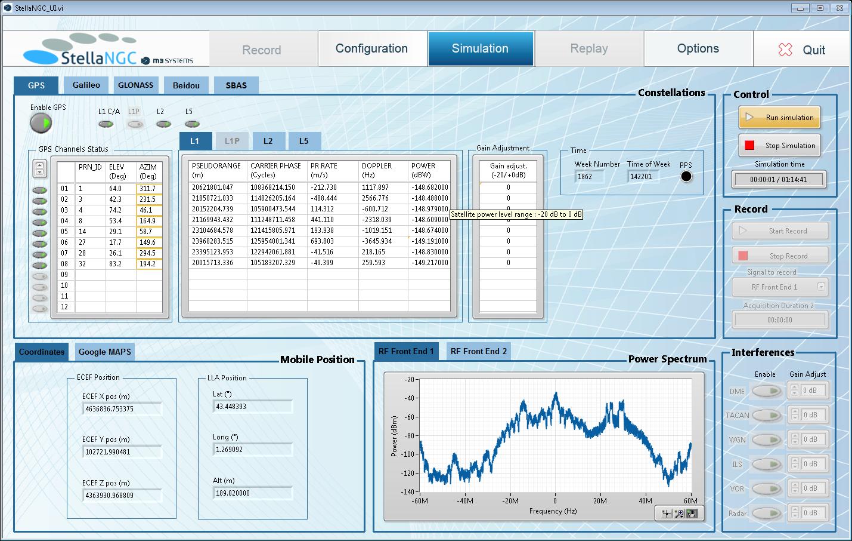 Simulation screen (coordonnates view)