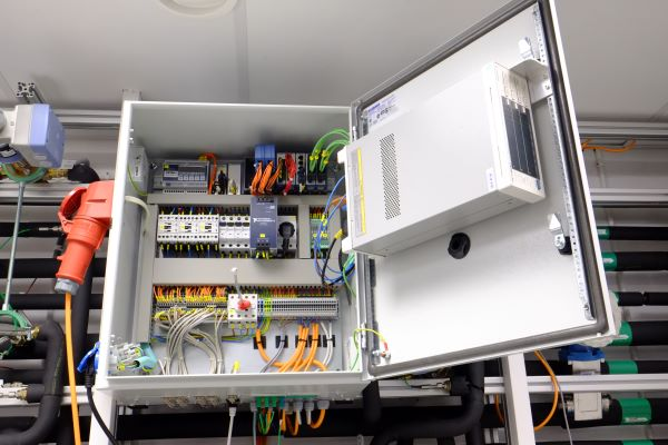 Installed cabinet in lab - open for maintenance