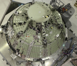 Orion Crew Vehicle during Proof Pressure Test (Photo Courtesy of Lockheed Martin)